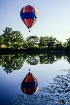 © Alison M. Jones #hot #air #balloon #reflection #water