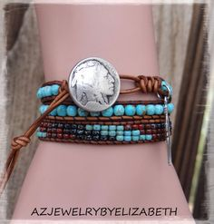 DESIGNING ORIGINAL Turquoise And Seed Bead Leather Wrap Bracelet, Hand Crafted Native American Leather Wrap Bracelet, Bracelet. ( Item #47 )