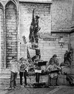 - - - - #art #pencil #drawing #artist #pencildrawing #graphitedrawing #realisticart #realism #blackandwhite #illustration #artistsonpinterest #picoftheday #bnwportraits #portraitdrawing #pencilart #graphite #realisticdrawing #music #belgique #anvers #cathedral #constructor #quatuor #violin #violoncelle #streetart #streetmusician Pencil Art, Pencil Drawings, Street Art, Music, Painting, Cellos, Antwerp, Musica, Musik