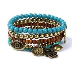 Turquoise, gold, wood & mystical charms: Earthy Beaded Charm Bracelets Set of 5 #moreismore