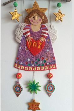 Air Dry Clay, Christmas Ornaments, Holiday Decor, Art Teachers, Feelings And Emotions, Angels, Step By Step, Creativity, Xmas