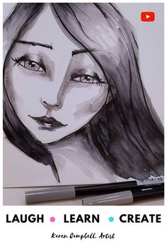 Learn how to shade a face drawing in greyscale with tombows from mixed media art. Karen Campbell, Bow Drawing, How To Shade, Online Art Classes, Black And White Artwork, Mermaid Drawings, Learn Art, Marker Art, Mixed Media Artists