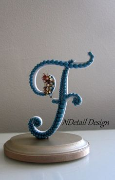 """Wedding Cake Topper: Monogram Letter F """"Ready to Purchase"""" in Teal Pearls for Garden, Vintage or Rustic Wedding"""