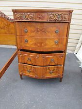 54447 INLAID SATINWOOD CARVED HIGH CHEST DRESSER SERPENTINE SIDES
