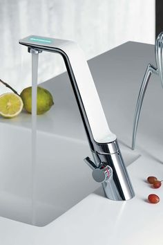 Sense by Rodrigo Torres, sculptural water faucet that teaches us how to save water. produced by Oras for Alessi Kitchen Sink Faucets, Bathroom Faucets, Sinks, Bathrooms, Water Tap, Save Water, Water Faucet, Id Design, Alessi