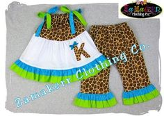 custom children boutique unique handmade cute little newborn infant toddler baby girl clothes clothing giraffe pillowcase tunic dress top matching ruffle pant bottom outfit set 3 6 9 12 18 24 month size 2t 2 3t 3 4t 4 5t 5 6 7 8