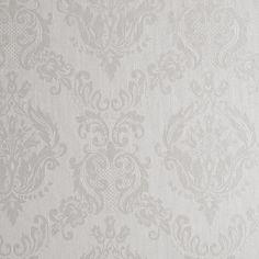 56 sq. ft. Ivory Shimmer Damask Wallpaper