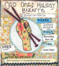 The Odd Ones Holiday Bizarre is an alternative arts and craft event that has been happening in Harrisburg for over a decade! This year vendors will be setting up throughout The Millworks. Join us as we celebrate the holiday seasonwith a collection of crafters, artists and creators who will be selling their handcrafted waresin addition… More