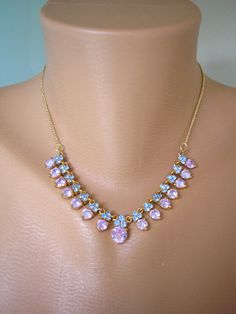 Amethyst Rhinestone Necklace Purple and Blue Necklace Mother of the Bride Lavender Bridal Periwinkle Blue Blue Wedding Great Gatsby by CrystalPearlJewelry