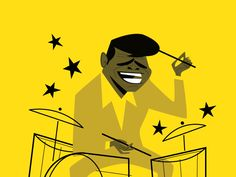 Funky Drummer designed by Diego Riselli. Connect with them on Dribbble; Vintage Cartoon, Cartoon Art, Rock And Roll Dance, Drum Lessons For Kids, Drums Artwork, 70s Cartoons, Vintage Illustration Art, Caricature Drawing, Surf Art