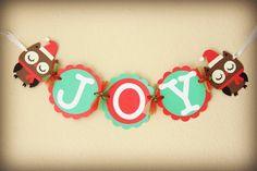 Joy Banner, Christmas Banner, Christmas photo prop, Holiday Season Banner, Owl Joy Banner, Christmas garland