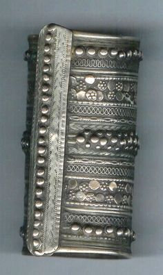 Silver cuff with granulation and applied silver work, early style filigree. Bedoin Raishida Oman (Archives sold Singkiang)