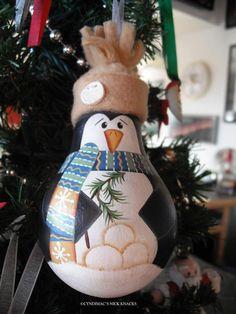 Penguin Loves Snowballs Lightbulb Ornament by CyndiMacsNickKnacks