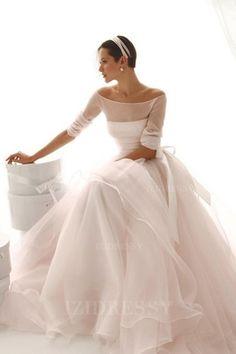 Ball Gown Off-the-shoulder Sweep/Brush Train Organza Wedding Dress #CheapWeddingDress