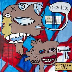 Ray Moore – Gravy (2013) – Mixed Media on Canvas, 100 x 100 cm. Available at Unequity, Munich