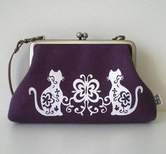 Leather handle Linen quilted purse  by tagodesign