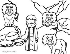 A black-and-white coloring page of Daniel sitting in a den