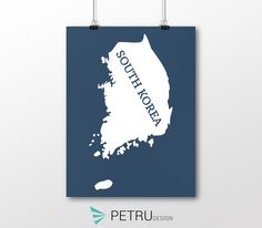 South Korea print - South Korea art - South Korea poster - South Korea wall art - South Korea printable poster - South Korea map by Exit8Creatives on Etsy