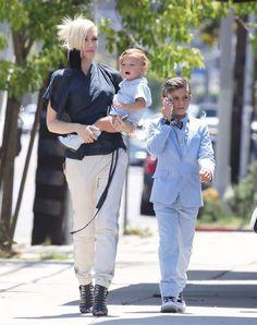 Gwen Stefani and Gavin Rossdale take their boys Kingston, Zuma and Apollo to church