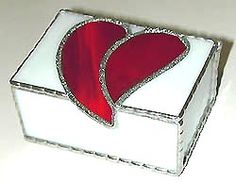 """Red & White Stained Glass Box - Valentine Gift Idea - 3 1/2"""" x 3 1/4"""" - $27.95 - Handcrafted Stained Glass Heart Design * More at www.AccentOnGlass.com"""