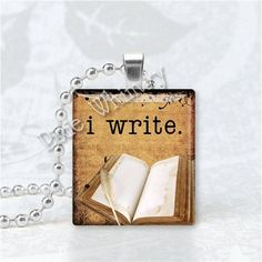 I WRITE BOOK Jewelry Book Scrabble Tile Altered Art by PixieWhimsy