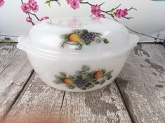 Excited to share this item from my shop: French Arcopal 'Fruits de France' pattern casserole large size, Vintage pyrex Pyrex Casserole Dish, Brazilian Embroidery, Glass Baking Dish, Teapots And Cups, Vintage Pyrex, Picnics, Milk Glass, Tea Pots, France