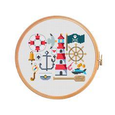 Marine sampler - modern cross stitch pattern - anchor lifeline captain lighthouse vistula bell steering wheel compass seagull card money (3.99 USD) by PatternsCrossStitch