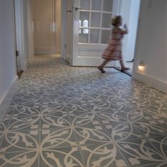 Deluxe Floral Printed Cement Floor Tile From House Floor Pretty House, Spanish Floor Tile, House Flooring, Painted Concrete Floors, Cement Floor, Flooring, Indoor Tile, Hall Flooring, Tiled Hallway