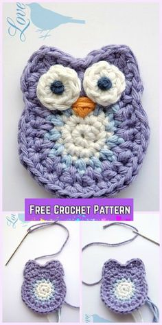 Crochet Girl's Chevron Dress Free Patterns with video-Crochet Owl Applique Pattern #crochetdresses