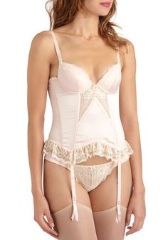 Like a Lady Corset - Pink, Tan / Cream, Solid, Lace, Trim, Vintage Inspired, French / Victorian