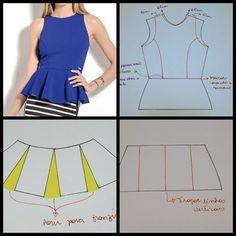 Blusa com recorte e babado peplum #modelagem, #modelagempassoapasso