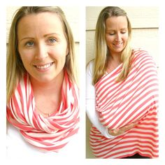 SUMMER SALE Nursing Scarf in Hot Coral and Beige by BolderBags, $18.00