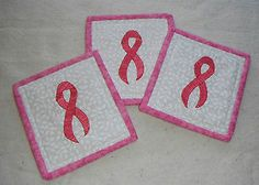 Set of 3 Pink Ribbon Breast Cancer Awareness Quilted Coasters