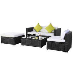 Rattan Corner Sofa Set Rattan Garden Furniture Conservatory Outdoor Patio Black