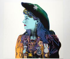 """Annie Oakley"" from the portfolio ""Cowboys and Indians,"" 1986. Silkscreen on Lenox Museum Board, Extra out of Edition. Gift to ISU 2013, 2014.   Warhol fuses his interest in celebrity, movies, portraits, stereotypes, myths, and the American Indian artifacts into one portfolio celebrating the American West.  #AndyWarhol #Art #ISU #AnnieOakley"