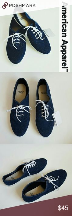 New! American Apparel denim casual sneakers! 9 New with tags! American Apparel denim sneakers, size 9. Dark denim color!  Bundle up! Offers always welcome:) American Apparel Shoes