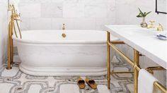 Beautiful gold rail bathroom and elegant decorative tiles