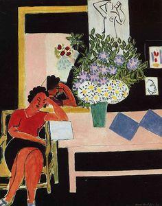 Henri Matisse, Reader on a Black Background (The Pink Table), 1939