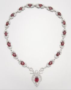 18K WHITE GOLD, RUBY AND DIAMOND NECKLACE