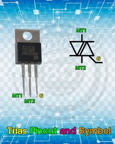 Triac Pinout and Symbol. - Electrical Triac Pinout and Symbol. Electronics Projects, Simple Electronics, Electronic Circuit Projects, Hobby Electronics, Electronics Components, Electronic Engineering, Electrical Engineering, Electronics Gadgets, Electronic Schematics