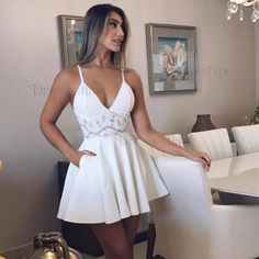 A-Line Spaghetti Straps White Satin Short Homecoming Dress with Lace Pockets