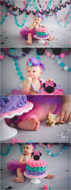 Birthday theme - pink, teal, and purple Minnie Mouse Birthday party theme - 1st birthday for little girl
