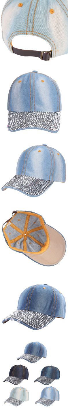 Women Men Adjustable Hat Rhinestones Studded Baseball Cowboy Hats Caps Visor Denim Tennis Hats 2017 Casual New Fashion