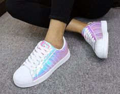 Shoes: superstar holographic adidas girly girl girly wishlist adidas adidas superstars adidas | @giftryapp
