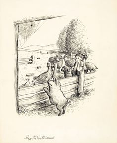 Charlottes Web illustration -  a-directors-meeting-charlottes-web-page-88-illustration-1952-gm-williams1.jpg  #kidlit #illustration
