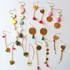 ピアス Trendy Accessories, Handmade Accessories, Handcrafted Jewelry, Jewelry Accessories, Simple Earrings, Simple Jewelry, Bead Earrings, Clay Jewelry, Jewelry Crafts