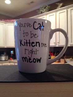 Hand painted coffee mug. You've Cat to be by ShesAPaperPleaser, $12.00