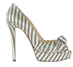 Christian Louboutin greissimo pump 140 Black and white stripe damas fabric pump. Knot detail on upper. Peep toe. Covered platform. Fabric upper, leather