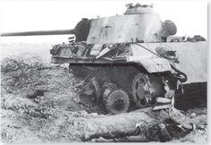 A destroyed Panther V Ausf A left abandoned on the battlefield.