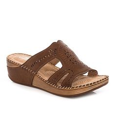 Loving this Brown Embossed Sandal on #zulily! #zulilyfinds
